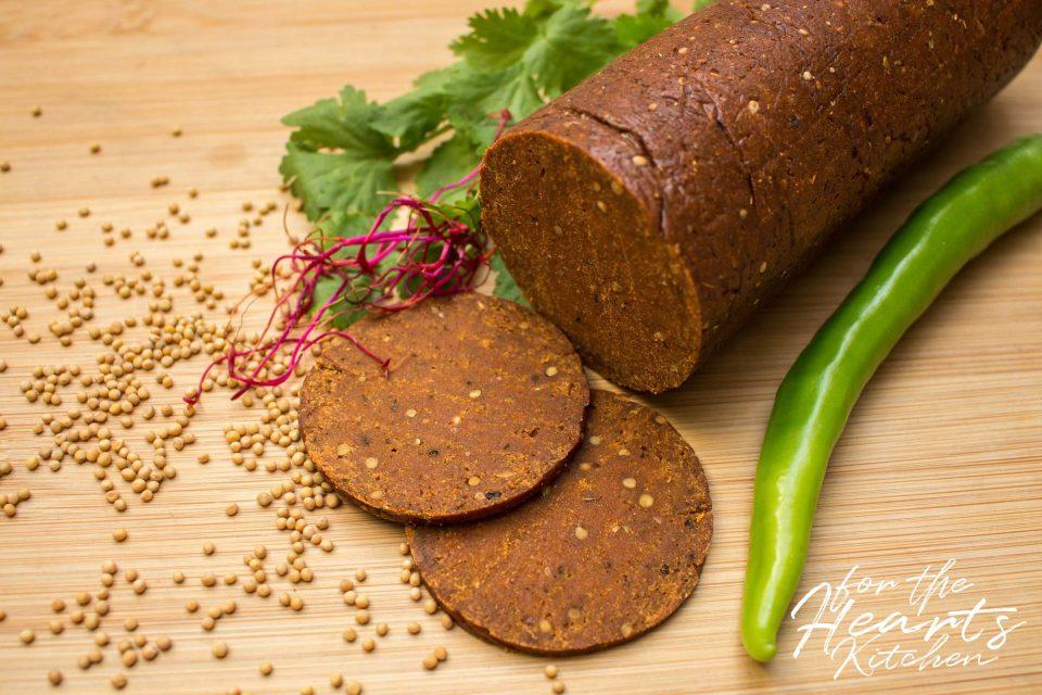 Spicy vegane Chorizo Seitan Salami