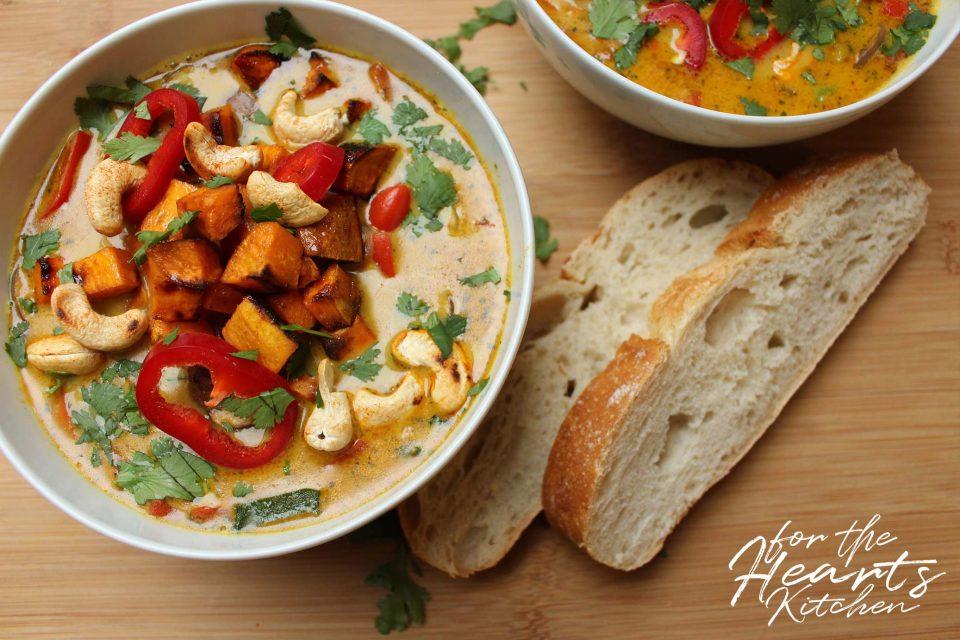 Karamellisierte Süßkartoffel Kokos-Curry-Suppe