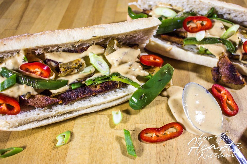 Veganes Philly Cheesesteak Sandwich