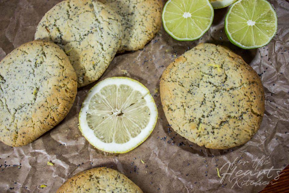 Vegane Limetten-Zitronen Mohn Soft Cookies